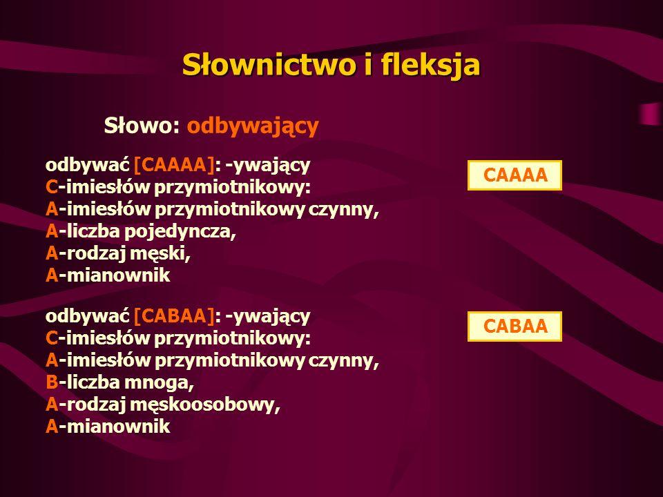 Słownictwo i fleksja Słowo: odbywający odbywać [CAAAA]: -ywający